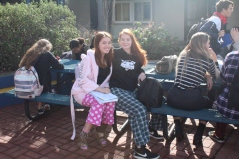 Sydney Lee and Emma Hurlburt in their comfy pajamas