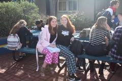 Sydney Lee and Emma Hurlburt in their comfy pajamas