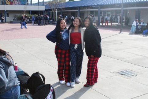 Maylea, Francesca, and Cesalyn all checkered up for pajama day