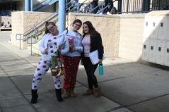 Miranda, Emily, and Chelsea having fun in their jammies
